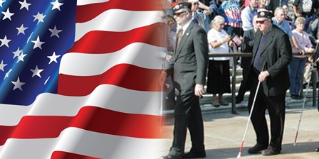 Blinded Veterans Walking in a Parade