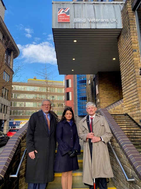 In early March, Tom Zampieri, right, traveled to the United Kingdom to garner support from the British government for a joint task force that will support combat ocular trauma research within the two countries. Shown with Dr. Zampieri outside Blind Veterans UK headquarters, National Alliance for Eye and Vision Research Executive Director Jim Jorkasky and BVUK Chief Scientific Officer Renata Gomes.