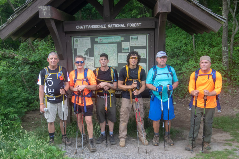 BVA Members and Guides standing in front of the Chattachoochee National Forest Sign