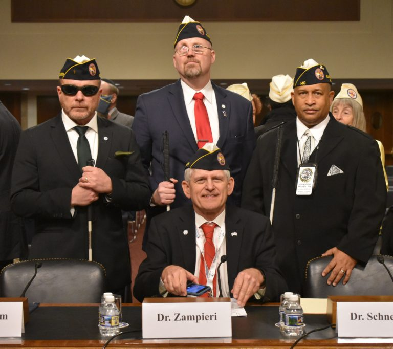 Legislative Testimony Photo with Officers—BVA National President Tom Zampieri, accompanied by fellow national officers and Executive Director Joe Bogart